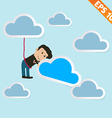 Cartoon business man with cloud computing - vector image