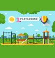 childrens playground on city park flat design vector image vector image