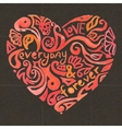 Creative doodle watercolor heart on the dark vector image