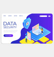 data security isometric landing concept protect vector image