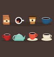 delicious coffee and tea time icons vector image vector image