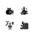 estimating planting time black glyph icons set vector image vector image
