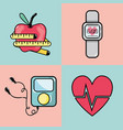 flat line set icon fitness vector image vector image