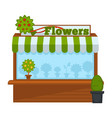 flowers vendor booth or flower market wooden stand vector image vector image