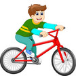 funny boy cartoon riding bicycle vector image vector image