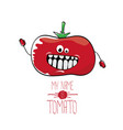 funny cartoon cute red tomato vector image vector image