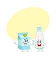 funny milk characters bottle and carton box vector image vector image