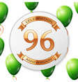 Golden number ninety six years anniversary vector image vector image