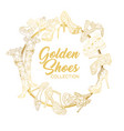 golden shoes collection sign creative trendy logo vector image vector image
