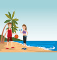 group of athletes practicing sport on the beach vector image vector image