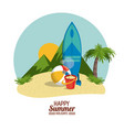 happy summer holidays poster mountain ball sand vector image