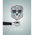 Hipster lion wearing spectacles vector image