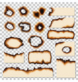 holes and burnt edges of paper sheet pieces vector image