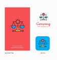 justice company logo app icon and splash page vector image vector image