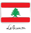 Lebanon flag doodle vector image vector image