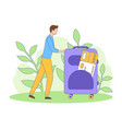 man suitcase ticket tourism filled outline vector image