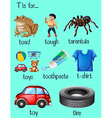 Many words begin with letter T vector image vector image