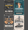 microphone musical instruments and vinyl records vector image vector image