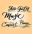 music and concert hand written typography vector image