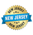 New Jersey round golden badge with blue ribbon vector image vector image