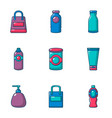 phial icons set cartoon style vector image vector image