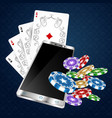 playing cards and smartphone vector image vector image