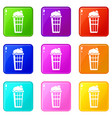 popcorn box icons set 9 color collection vector image vector image