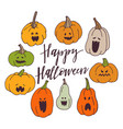 pumpkins with spooky faces vector image vector image
