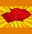 red flag pop art background vector image vector image