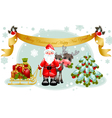 santa and christmas tree vector image