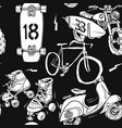 seamless pattern with motorbike surfboard skate vector image
