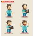 Seasoned IT guy emotions in poses standing set vector image vector image