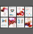 valentines day backgrounds with infographics set vector image vector image