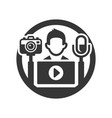 video blogger icon for logo on white background vector image vector image