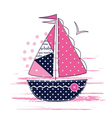 with cute patchwork sailboat vector image vector image