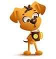 yellow cartoon dog drinks hot tea with lemon vector image