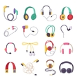 headphone icons set on white background vector image