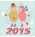 2015 card with cute sheeps couple kissing vector image