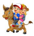 a boy and girl riding horse vector image