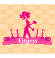 Abstract fitness girl training - poster background vector image vector image