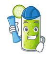 architect cucumber juice in a cartoon glass vector image vector image