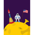 Astronaut on moon Cosmic man with the flag of vector image