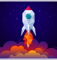 banner with space rocket on blue background vector image