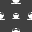 boat icon sign Seamless pattern on a gray vector image