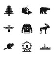 canada icon set simple style vector image vector image