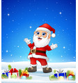 cartoon santa in the winter background with gift b vector image vector image