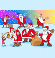 christmas santa claus cartoon characters group vector image