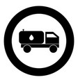 cistern truck icon black color in circle vector image vector image