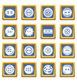 clothes button icons set blue square vector image