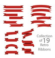 collection of 19 retro ribbons on white background vector image